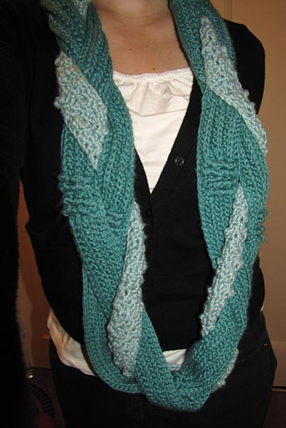 Crocheting Ends Of Infinity Scarf Together : ... strand then braiding them together sewing together the ends and