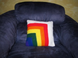 Rainbow Collection - Mitered Corner Pillow in it's Natural Surroundings