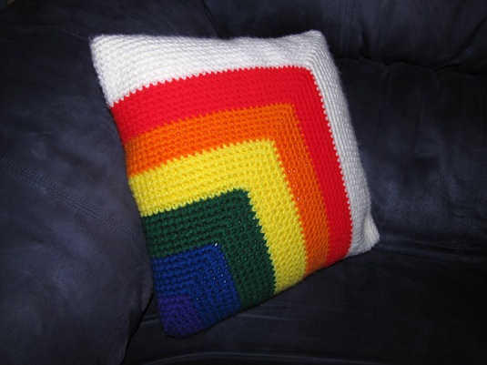 Mitered Corner Rainbow Pillow