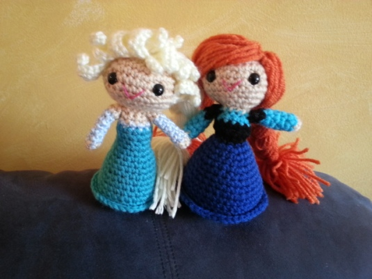Elsa and Anna crocheted dolls