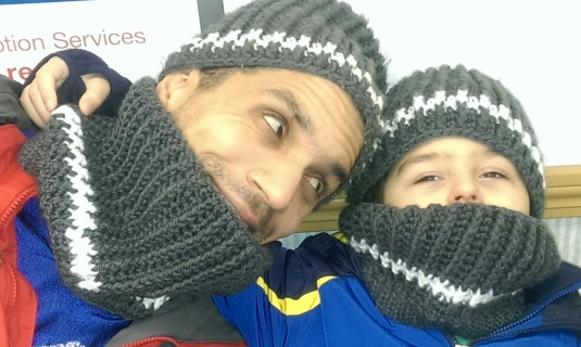 Father and Son Matching Hat and Cowl Sets